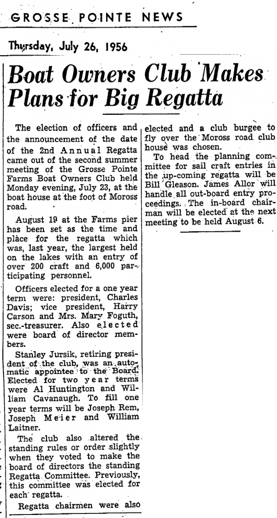Grosse Pointe News 1956 Boat Club Article